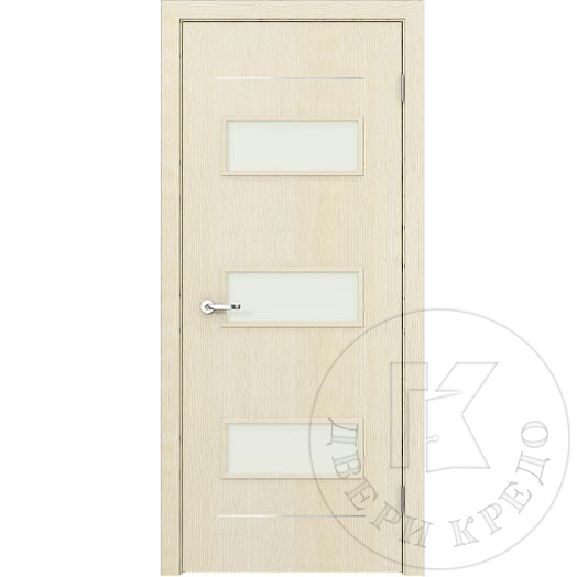 Glazed door with aluminum accent lines. Model Modern PDO.108